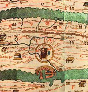 A map showing ancient Roman roads