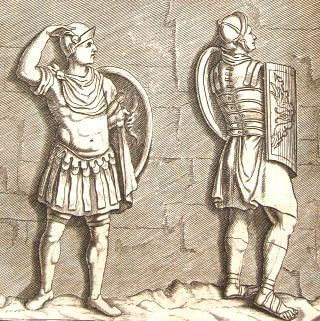 18th century print of ancient Roman soldiers