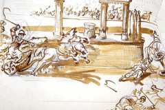 A chariot race in Ancient Rome's Circus Maximus - running over the competition at the Metae....