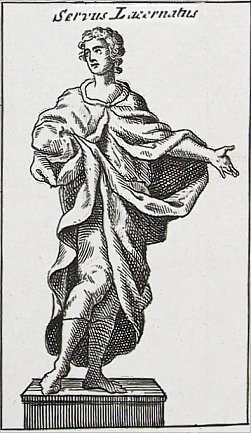 Image of an antique print of a roman slave.