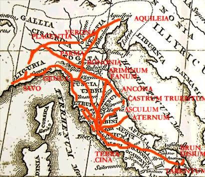 A map showing a network of major ancient Roman roads across Italy. Road networks, their construction and maintenance was certainly one of the greatest Roman innovations and inventions.