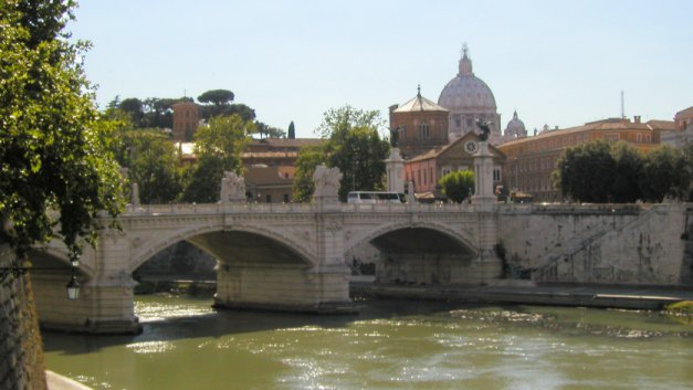 The river Tiber and St. Peter's Basilica in Rome