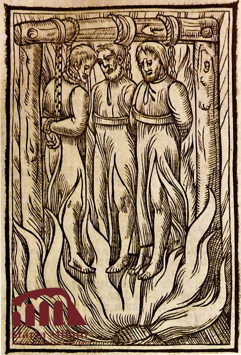 People hung and burned as capital punishment.
